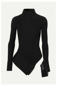 Off-White - Asymmetric Paneled Ribbed-knit Turtleneck Top - Black