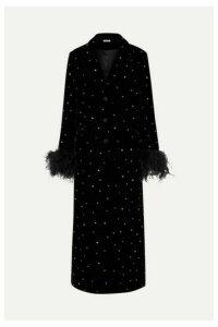 Miu Miu - Feather And Silk Satin-trimmed Crystal-embellished Velvet Coat - Black