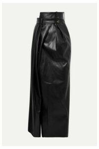 A.W.A.K.E. MODE - Pirt Asymmetric Layered Faux Leather Maxi Skirt - Black