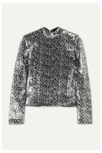 RtA - Freddie Sequined Satin Top - Silver