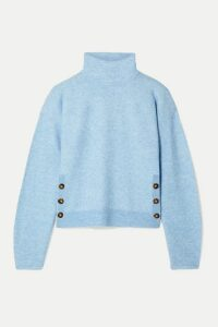 Veronica Beard - Cady Button-detailed Knitted Turtleneck Sweater - Light blue