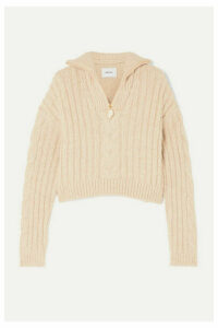 Nanushka - Eria Cropped Faux Pearl-embellished Cable-knit Sweater - Beige