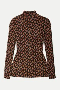 Diane von Furstenberg - Remy Paisley-print Stretch-tulle Turtleneck Top - Black