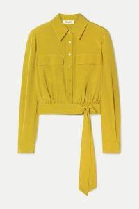 Diane von Furstenberg - Everlynn Belted Silk Crepe De Chine Shirt - Marigold