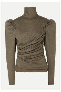 Isabel Marant - Davina Draped Wool Turtleneck Top - Army green