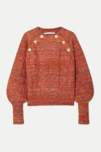 Veronica Beard - Adelaida Button-embellished Cable-knit Sweater - Orange