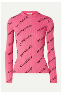 Balenciaga - Printed Ribbed-knit Top - Pink