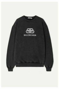 Balenciaga - Oversized Printed Cotton-jersey Sweatshirt - Anthracite
