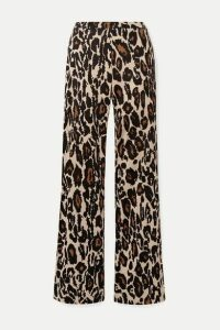Diane von Furstenberg - Caspian Leopard-print Silk-jersey Flared Pants - Leopard print