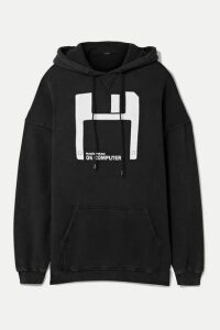 R13 - Oversized Printed Cotton And Lyocell-blend Hoodie - Black