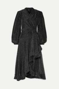 PatBO - Ruffled Stretch-jersey Wrap Dress - Black