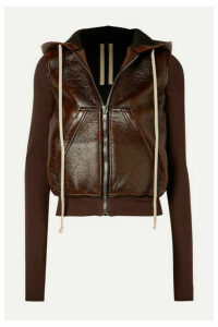 Rick Owens - Reg Hooded Faux Textured-leather And Cotton-jersey Jacket - Brown