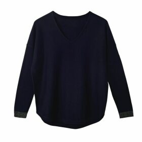 Cove - Lara Navy V Neck Cotton Cashmere Jumper
