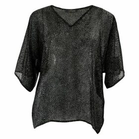 Me & Thee - Compassion Fatigue Black Devore V Neck Top
