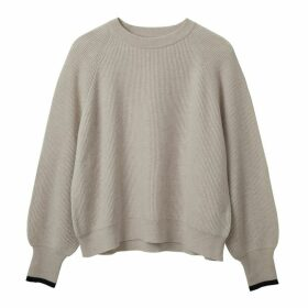 Cove - Robina Stone Cashmere Blend Jumper with Black Cuffs