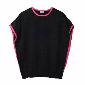 Cove - Eva Cashmere Jumper Charcoal & Pink