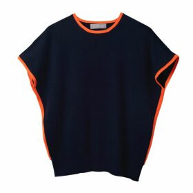 Cove - Eva Cashmere Jumper Navy & Orange