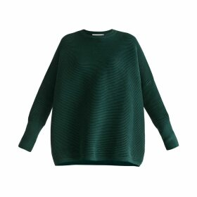 PAISIE - Ribbed Jumper With Side Splits In Green