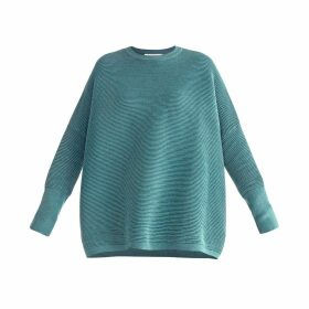 PAISIE - Ribbed Jumper With Side Splits In Teal