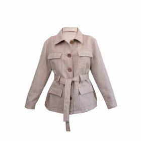 PAISIE - Striped Top With Contrasting Flared Cuff In Black & White