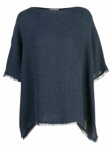 Dusan fringed poncho T-shirt - Blue