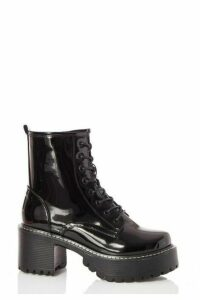 Quiz Black Patent Lace Up Chunky Hiker Boots