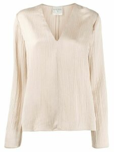 Forte Forte pleated long-sleeve blouse - NEUTRALS