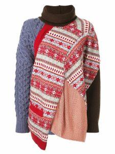 Kolor patchwork roll neck jumper - Multicolour