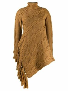 Oscar de la Renta cable knit asymmetric sweater - NEUTRALS