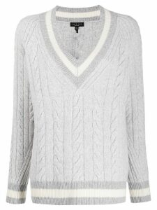 Rag & Bone cable knit varsity jumper - Grey