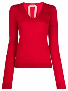 Nº21 v-neck knitted jumper - Red