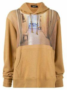 Undercover contrast print hoodie - Black