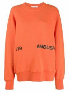Ambush contrast logo print sweatshirt - ORANGE