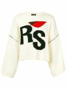 Raf Simons branded chunky jumper - White