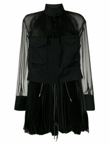 Sacai sheer pleated blouse - Black
