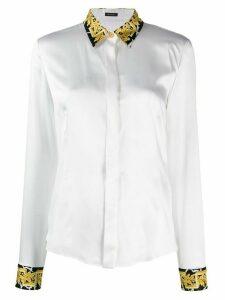 Versace Barocco print trim shirt - White