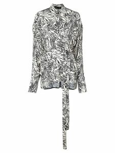 Proenza Schouler Zebra Print Exaggerated Epaulet Long Sleeve Wrap Top