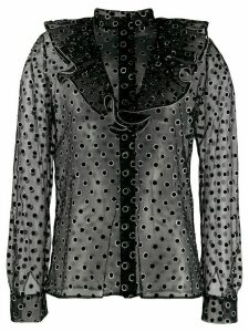Alberta Ferretti metallic polka dot shirt - Black