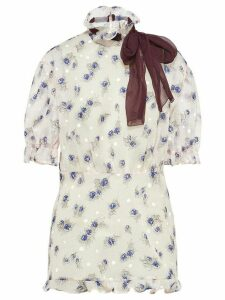 Miu Miu floral ribbon detail blouse - White