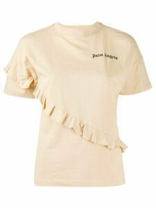 Palm Angels frilled mock neck T-shirt - NEUTRALS
