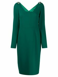 Dolce & Gabbana embellished shoulders midi dress - Green