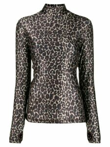 Golden Goose leopard-print turtleneck top - Brown