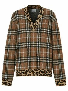 Burberry Vintage Check leopard-trimmed sweater - NEUTRALS