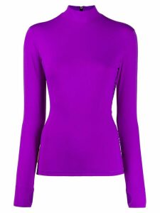 Golden Goose logo-panel turtleneck top - Purple
