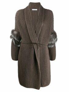 Fabiana Filippi belted rib cardigan - Grey