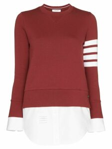 Thom Browne shirt-panelled sweatshirt - Red