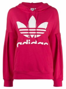 adidas logo print hoodie - PINK