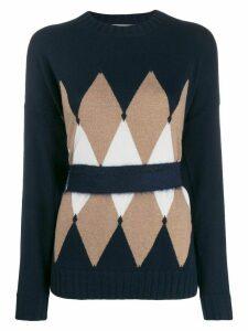 Ballantyne argyle cinched-waist cashmere jumper - Blue