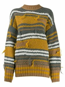 M Missoni striped distressed jumper - Yellow
