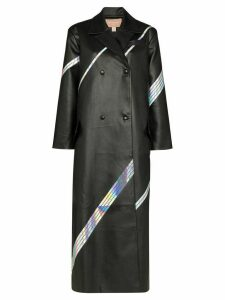 Matériel boxy fit holographic stripe coat - Black